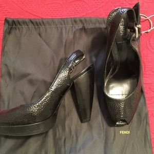 FENDI Black Peep Toe Sling Backs